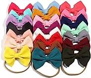 22 件/包 13 厘米 5.1 英寸 22 色婴儿头带带蝴蝶结尼龙头箍,适合新生儿、幼儿、女童发饰