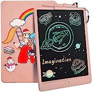 儿童液晶书写平板电脑,10 英寸(约 25.4 厘米)彩色涂鸦板绘图平板电脑,带可爱图案,可重复使用的涂鸦板电子写字板,教育学习玩具礼物,适合 2-12 岁女孩男孩(粉色)