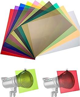 11.7X 8.3 英寸(约 27.9 X 21.9 厘米)透明色校正照明凝胶过滤器透明膜塑料板 10 张装,适用于 Camcorder LED 视频灯