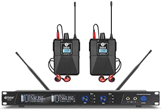 D Debra Audio PRO ER-202 UHF 双通道无线入耳式监控系统,带监控类型,适用于舞台、录音室、音乐家、监控(2 个带发射器的机身)