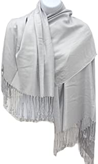 Silver Fever 尼泊尔纯色两层保暖柔软羊绒围巾披肩