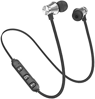 蓝牙 4.2 耳机运动磁力立体声耳机麦克风可充电 银色