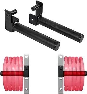 GemonExe 奥林匹克重量盘架适合 5.08 厘米 x 5.08 厘米管式电源笼,电源架附件(电源架),重量盘存储适合 5.08 厘米奥林匹克重量盘,带 2.54 厘米孔(一对)