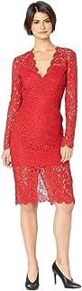 Bardot 红色花卉蕾丝长袖中长款连衣裙,尺码 4,红色