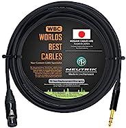 20 英尺 - 由 WORLDS BEST CABLES 定制的四重平衡接线电缆 - 使用 Mogami 2534 线和 Neutrik NC3FXX-B 母 XLR 和 NP3X-B TRS 立体声电话插头。