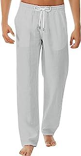 Percle 男式夏季休闲长裤亚麻裤宽松休闲裤瑜伽沙滩裤