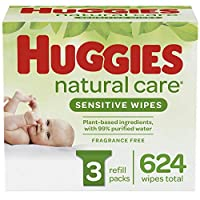 HUGGIES Natural Care Unscented Baby Wipes, Sensitive, 3 Refill Packs (624 Total Wipes)
