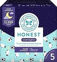The Honest Company Honest 隔夜婴儿纸尿裤,俱乐部包装盒,昏昏欲睡的绵羊,5号(44个)