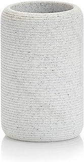 "Zeller 18796 牙刷杯 ""生活"",树脂,浅灰色,约直径 7.2 x 11.2 厘米"