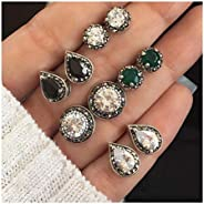 deladola 波西米亚风多耳钉套装银色闪光水晶宝石耳环水滴水钻配饰女士和女孩首饰(5 对)