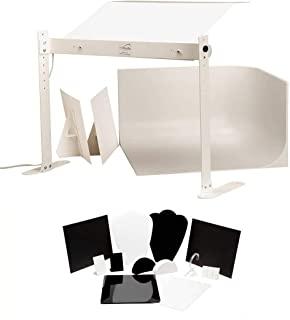 MyStudio US31LED 专业桌面灯箱图像处理套件,带 LED 照明用于产品摄影,白色MS20JLED  LED Lighting MS20J - w/ Jewelry Kit LED