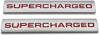 2 件金属增压标志汽车徽章高级汽车徽章后备箱贴纸侧挡泥板贴花(银色和红色)