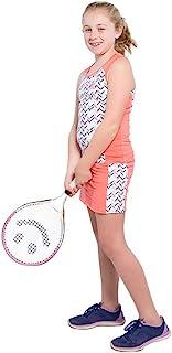 女童网球 2 件套透气连衣裙套装 - *蓝或珊瑚色无袖工字背心和网球裙带短裤