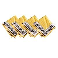Villeroy & Boch Audun 棉质面料餐巾(4 件套),53.38 厘米 X 53.48 厘米,黑色和黄色