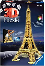 Ravensburger 3D拼圖 夜間的埃菲爾鐵塔 216塊,兒童成人皆宜,袖珍版巴黎地標,夜光