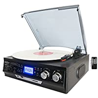 Boytone BT-17DJB 3-speed Stereo Turntable, 2 Built in Speakers Digital LCD Display AM/FM Radio, USB/SD Slot, AUX+ MP3 & WMA Playback /Recorder & Headphone Jack + Remote Control