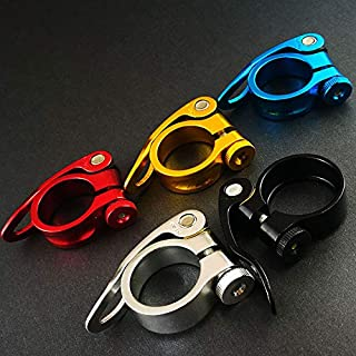 快速释放自行车座杆夹,喷砂阳极氧化铝合金 31.8MM/34.9MM 28.6MM 黑色/红色/蓝色/金色/银色(银色,34.9MM)