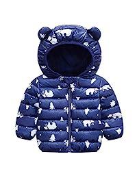 男童女童冬季外套连帽羽绒夹克外套轻质防水可折叠羽绒夹克