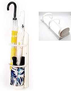 雨伞架,雨伞架,带滴水托盘,壁挂式雨伞储物架,适用于雨伞和手杖(白色)