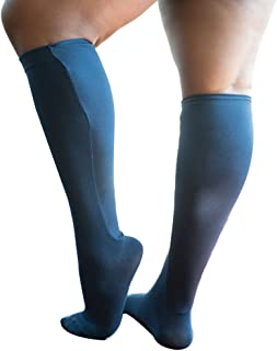 Xpandasox 女士加大尺码及膝袜 黑色混棉
