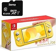 Nintendo 任天堂 Switch Lite 游戏机,5.5 英寸触摸屏,内置加控制垫,黄色,W/ 128GB Micro SD 卡,内置扬声器,3.5 毫米音频插孔