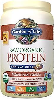 Garden of Life 未加工蛋白香草茶粉,20份*包装可能各异*认证的素食,无麸质,植物性无糖蛋白质奶昔,酶