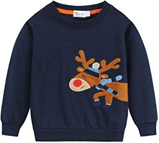 EULLA 男童运动衫幼儿男孩恐龙衣服婴儿套头毛衣儿童套衫适合 1-7 岁男孩使用 Elf-blue 2-3T