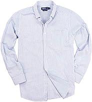男式 * 纯棉格子长袖衬衫 蓝色/白色 Slim Fit: X-Large