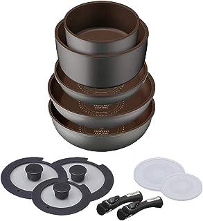 アイリスオーヤマ(IRIS OHYAMA) 煎锅套装 IH 12 件套 轻便带手柄 易清洗 不粘锅 保养简单 H-IS-SE12