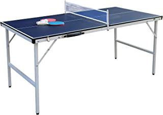 Tiktun 专业 MDF 网球桌,带快速夹钳乒乓球网和柱组 - 10 分钟轻松组装,带 1 个乒乓球桨
