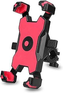 KMRIPYU 自行车手机支架,摩托车手机支架自行车车把手机夹,滑板车手机夹,防震,360度旋转,适用于 3.5-7.7 英寸智能手机(红色)