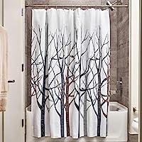 InterDesign 植物浴帘,72 英寸 x 72 英寸,森林图案