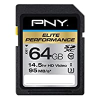 PNY Elite Performance 64GB闪存高速SDXC级 10 UHS-I (P-SDX64U395-GE)