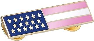 警察消防员粉红条纹美国国旗引证章徽章金色边饰乳腺*意识