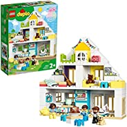 LEGO 乐高 10929 DUPLO Town 积木玩具屋 3 合 1 套装,2 岁以上女孩和男孩娃娃屋,带公仔和动物,适合幼儿