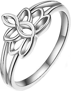 Lotus Flower 瑜伽戒指女式银色开口可调节中指指环青少年女孩生日圣诞礼物趾环