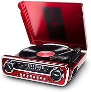 ION Audio Mustang LP | 4 合 1 乙烯基唱片机 / 唱片机,内置扬声器,外加收音机,USB 播放,辅助输入和替换手写笔 - 活力红色饰面