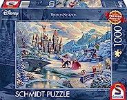 Schmidt Spiele 59671 Thomas Kinkade,迪士尼,美丽与野兽,神奇的冬夜,1000 片拼图,多彩