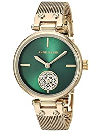ANNE KLEIN 女式石英金属和不锈钢时装手表,Gold/Green