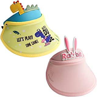 2 件女童幼儿太阳帽,儿童遮阳帽,防紫外线恐龙和兔子