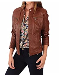 Leather Planet 女式羊皮飞行员机车夹克 - 冬季穿着 - *柔软光滑 棕色 X-Large (For Bust 39-40) 43230-89119