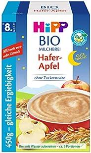Hipp Bio-Milchbreie ohne Zuckerzusatz-Vorratspackung, ab 8. Monat, Gute-Nacht-Brei Hafer Apfel, 4er Pack (4 x