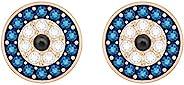 Swarovski 施华洛世奇 Luckily 女式邪恶眼耳钉,透明蓝色和黑色水晶搭配玫瑰金色镀金镶嵌