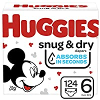 Huggies Snug & Dry 嬰兒尿布 NEW One Month Supply Pack Size 6 (124 Count)