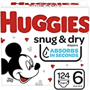 Huggies Snug & Dry 嬰兒尿布 NEW One Month Supply Pack Size 6 (124 Co