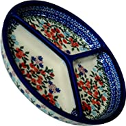 Polish Pottery Ceramika Boleslawiec 0727/282 皇家藍圖案梅賽德斯分隔盤,直徑 10-3/4 英寸,紅色漿果和雛菊
