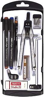 Aristo 学校套装圆规(9 件套圆规套装带配件,两个颜料衬垫和一支笔盒)黑色/银色