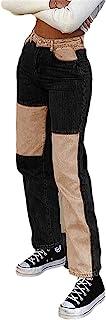 女式牛仔裤高腰拼接直筒牛仔裤 时尚 Y2K 风格拼色仿旧铅笔裤
