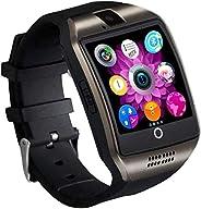 智能手表,SN06 智能手表,带触摸屏摄像头,SIM 卡插槽运动手表计步器健身追踪器智能手表,适用于三星小米华为摩托罗拉 Android iPhone 男式女士儿童(黑色)
