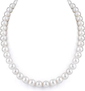 """14K Gold 9-10mm White Freshwater Cultured Pearl Necklace, 17"""" Princess Length"""